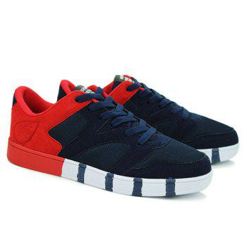 Fashionable Tie Up and Color Splicing Design Men's Casual Shoes - BLUE/RED 43