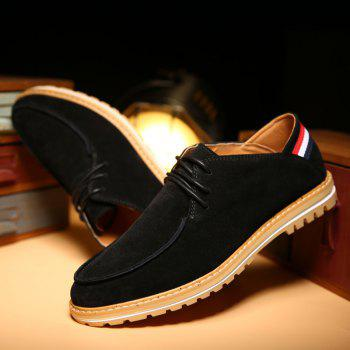 Fashionable Striped and Tie Up Design Men's Casual Shoes - BLACK 42