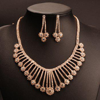 Suit Exaggerated Gold Plated Rhinestone Flowers Tassel Pendant Necklace Earrings Women