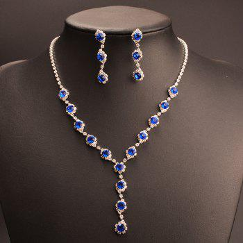 A Suit of Faux Crystal Rhinestone Y Shape Necklace and Earrings