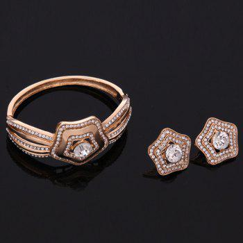 A Suit of Star Rhinestone Necklace and Bracelet Earrings and Ring - ROSE GOLD
