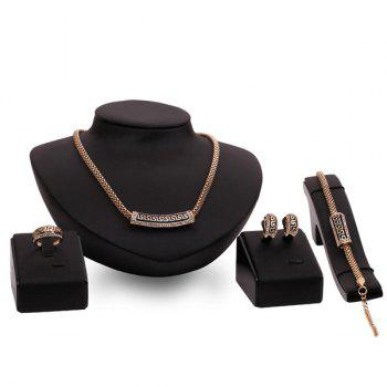 A Suit of Carved Geometric Necklace and Bracelet Earrings and Ring