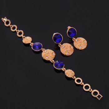 A Suit of Retro Style Faux Crystal Round Emboss Geometric Necklace Set For Women - BLUE