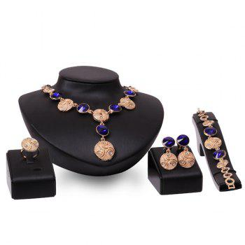 A Suit of Retro Style Faux Crystal Round Emboss Geometric Necklace Set For Women