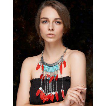 Stylish Coin Feather Fringe Necklace - RED