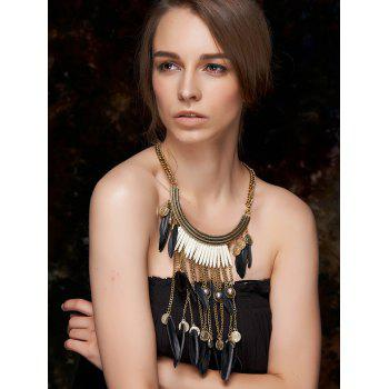 Stylish Long Coin Feather Fringe Necklace