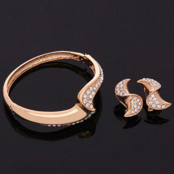A Suit of Stylish Geometric Rhinestone Necklace Bracelet Earrings and Ring For Women - ROSE GOLD