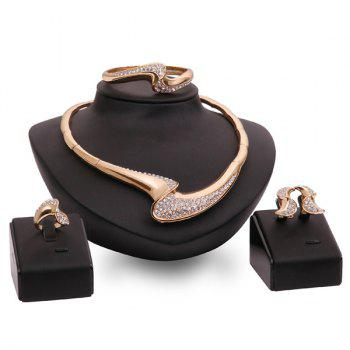 A Suit of Stylish Geometric Rhinestone Necklace Bracelet Earrings and Ring For Women