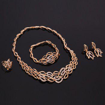 A Suit of Graceful Hollow Out Leaf Necklace Bracelet Earrings and Ring For Women - ROSE GOLD