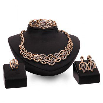 A Suit of Graceful Hollow Out Leaf Necklace Bracelet Earrings and Ring For Women
