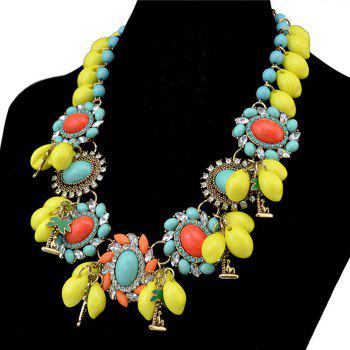 Faux Turquoise Geometric Rhinestone Necklace