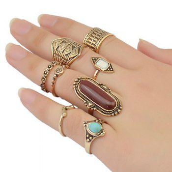 Vintage Oval Faux Turquoise Emboss Alloy Geomrtric Ring Set For Women - GOLDEN GOLDEN