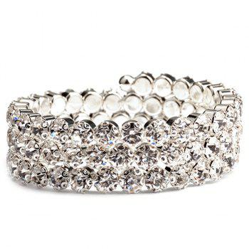 Round Tiered Rhinestone Hollow Out Bracelet