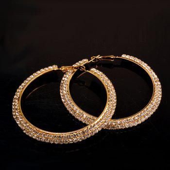 Pair of Rhinestone Gold Plated Curved Big Circle Hoop Earrings