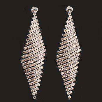 Pair of Rhombus Shape Hollow Out Rhinestone Earrings