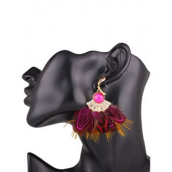 Ethnic Rhinestone Faux Feather Drop Earrings