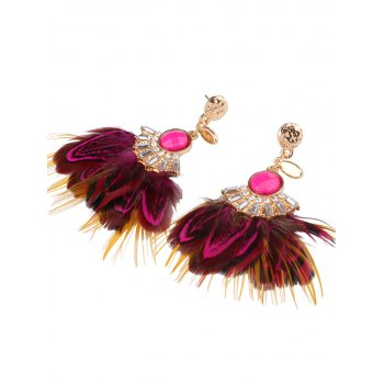 Ethnic Rhinestone Faux Feather Drop Earrings - ROSE MADDER