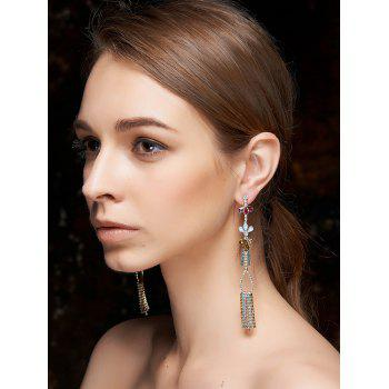 Ethnic Rhinestone Fringed Dangle Earrings - COLORMIX