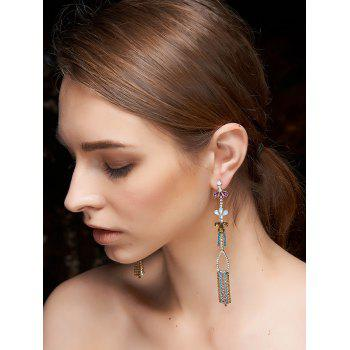Ethnic Rhinestone Fringed Dangle Earrings