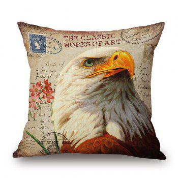 Retro Eagle Animal Print Sofa Car Decorative Pillow Case