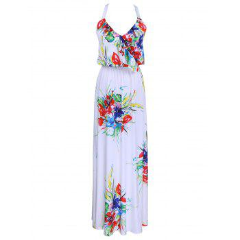 Elegant Women's Halter Ruffled Floral Print Dress