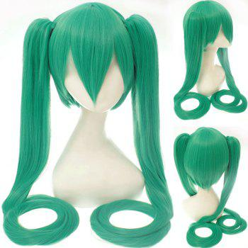 Buy Stylish Long Straight Bunches Synthetic Twintail Hatsune Miku Cosplay Wig GREEN
