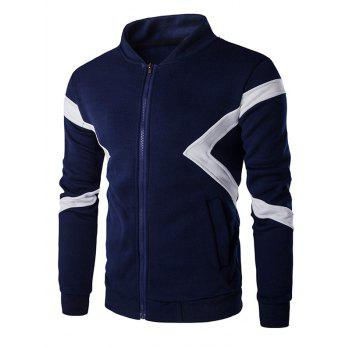 Color Splicing Napping Zip Up Men's Long Sleeve Jacket