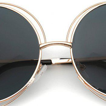 Chic Women's Hollow Out Round Sunglasses - BLACK
