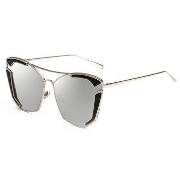 Chic Cut Out Alloy Women's Oversized Mirrored Sunglasses