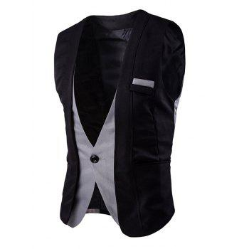 Buckle Back Color Splicing Men's One Button Vest