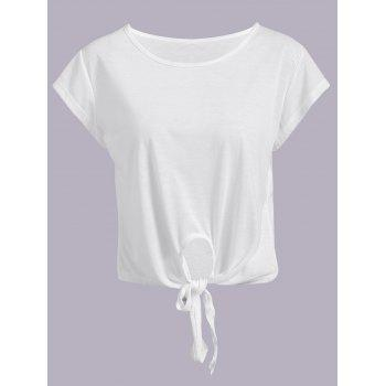 Active Scoop Neck Short Sleeve Candy Color Sport T-Shirt For Women - WHITE WHITE