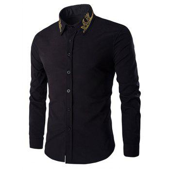 Golden Embroidery Solid Color Men's Long Sleeves Shirt