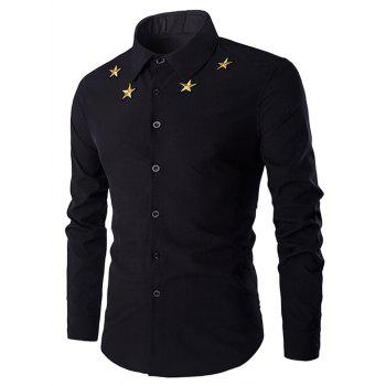 Buy Simple Star Embroidered Men's Long Sleeves Shirt BLACK