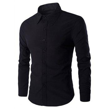 Rivets Embellished Men's Turn-down Collar Long Sleeves Shirt