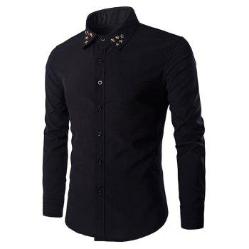 Gloden Star Rivets Design Men's Shirt Collar Long Sleeves Shirt
