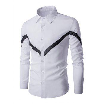 Triangle Pattern Men's Turn-down Collar Long Sleeves Shirt