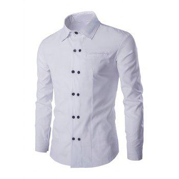 Buy Double-Breasted Solid Color Men's Shirt Collar Long Sleeves WHITE