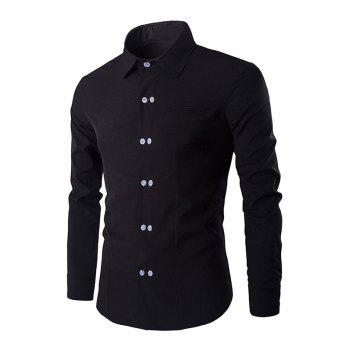 Double-Breasted Solid Color Men's Shirt Collar Long Sleeves Shirt