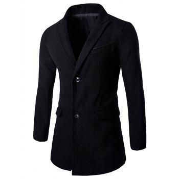 Single-Breasted Solid Color Men's Turn-down Collar Long Sleeves Coat