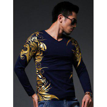 V-Neck Golden Floral Print Long Sleeve Men's T-Shirt