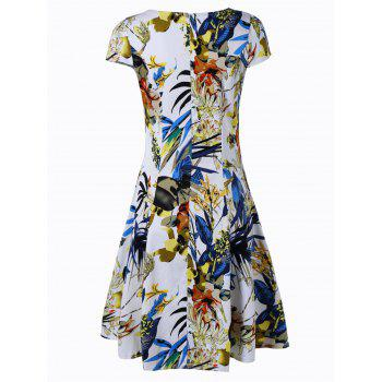 Retro Women's V-Neck Ruched Floral Print Flare Dress - BLUE/YELLOW 2XL