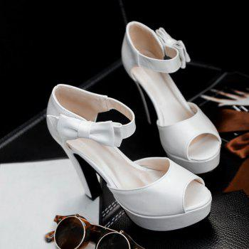 Chic Chunky Heel and Bowknot Design Women's Sandals - WHITE 38