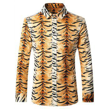 Plus Size Tiger Stripes Turn-Down Collar Long Sleeves Shirt For Men