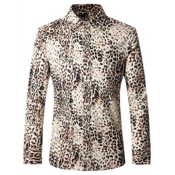 Plus Size Leopard Turn-Down Collar Long Sleeves Shirt For Men
