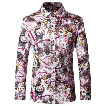 Plus Size Chic Printed Turn-Down Collar Long Sleeves Shirt For Men