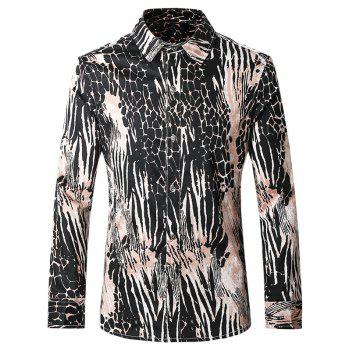 Plus Size Chic Pattern Printed Turn-Down Collar Long Sleeves Shirt For Men