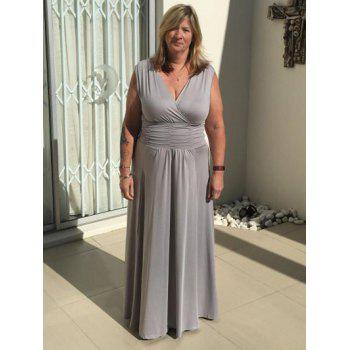 Graceful V Neck Ruched Maxi Gray Women's Dress