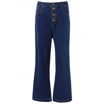 High Waisted Cropped Flare Jeans - DENIM BLUE L