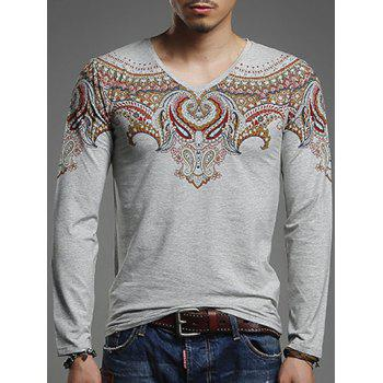 V-Neck Paisley Print Long Sleeve Men's T-Shirt