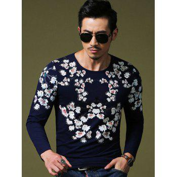 Wintersweet Print Slim Fit Round Neck Long Sleeves Tee For Men